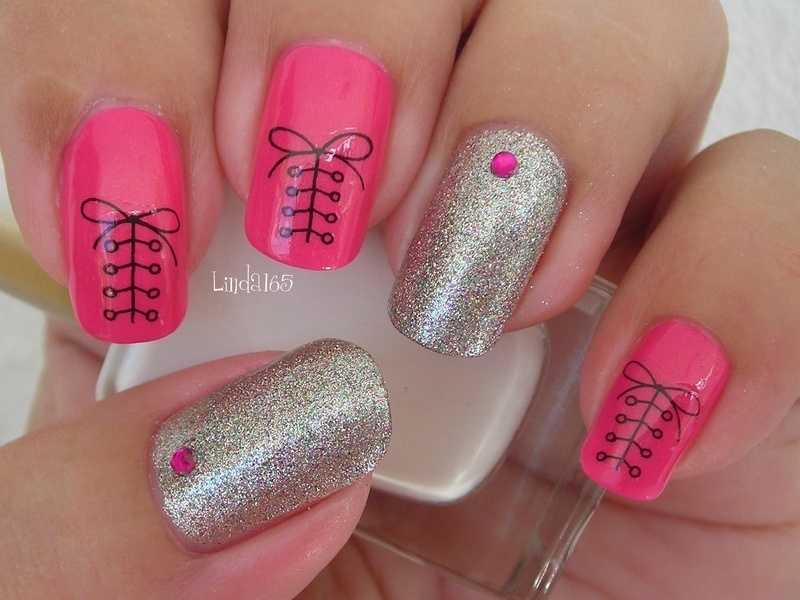 Cute Shoelace Water Decal nail art by Iliana S.