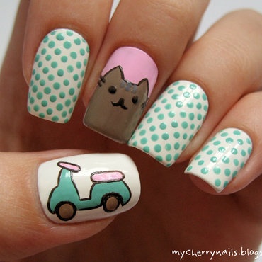 Pusheen the Cat nail art by Pauline