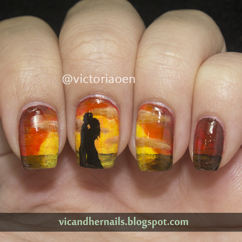 Sunset Kiss nail art by Victoria Oen - Nailpolis: Museum of Nail Art