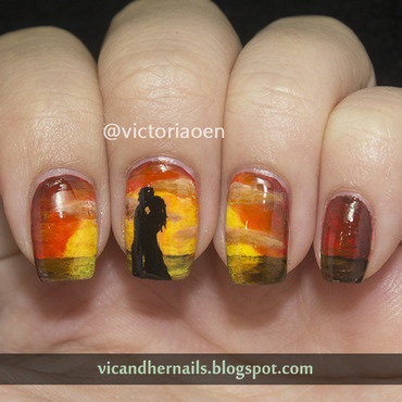 Valentine s day manicure sunset kiss thumb370f