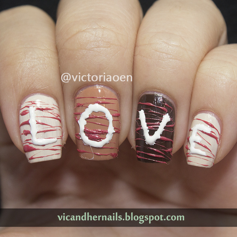 Valentine's Chocolate nail art by Victoria Oen