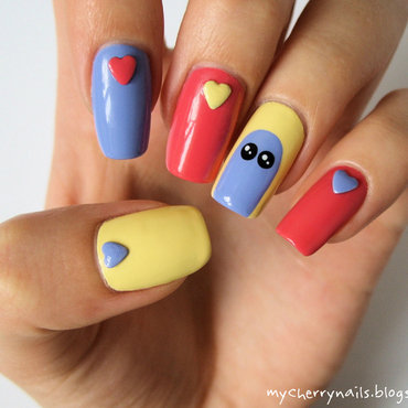 Heart-shaped nail studs nail art by Pauline