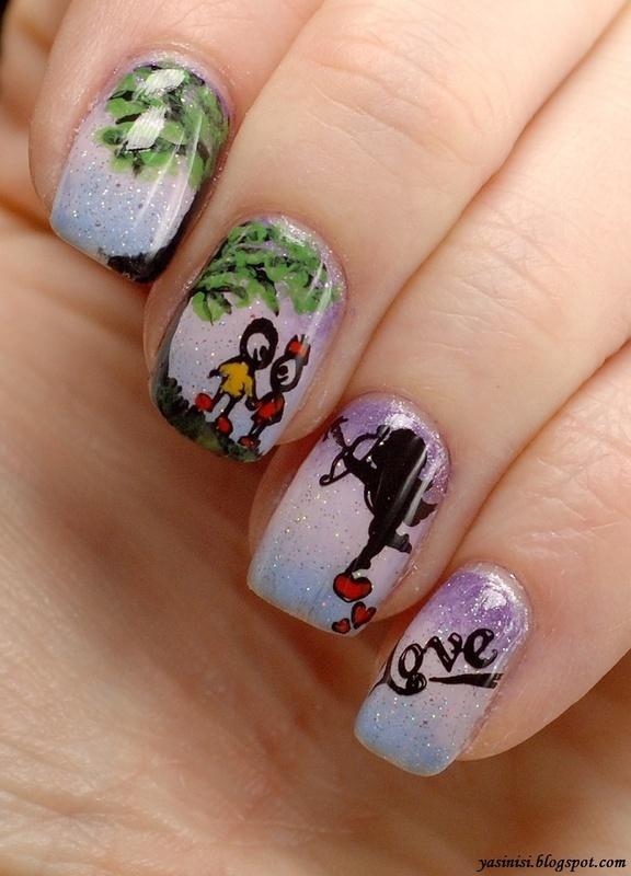 Love, sweet love.. nail art by Yasinisi