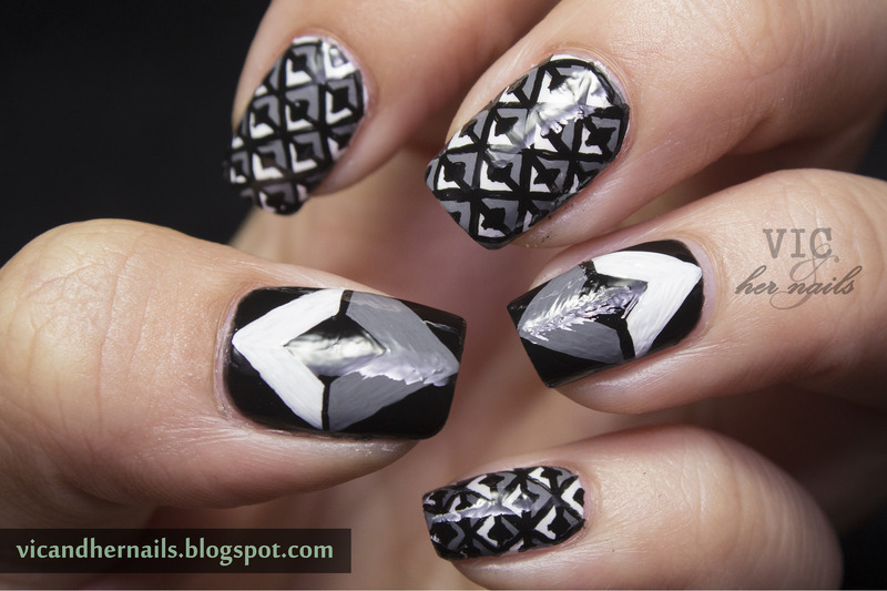 Achromatic Diamond nail art by Victoria Oen