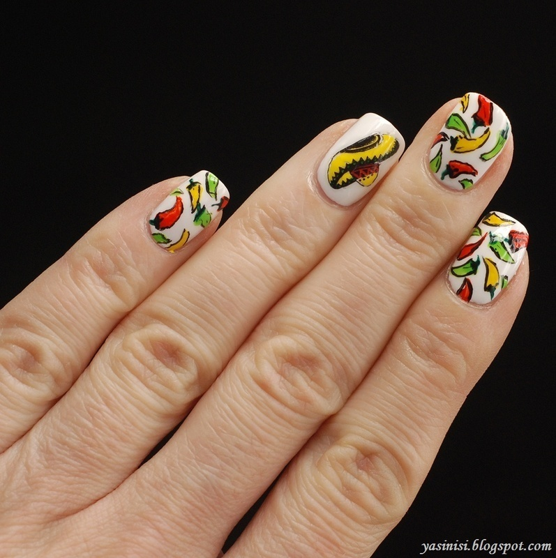 Chilli Peppers nail art by Yasinisi