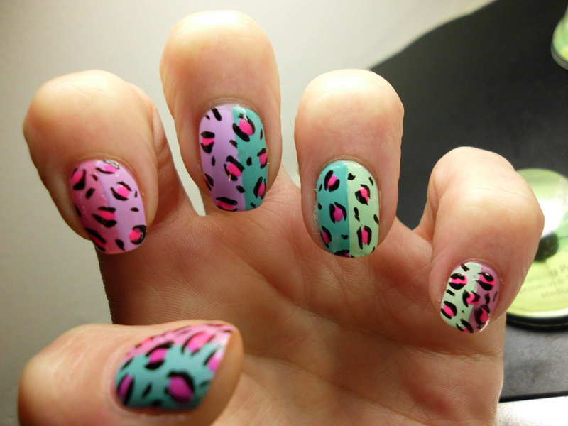 Rainbow Leopard nail art by Angelique Adams
