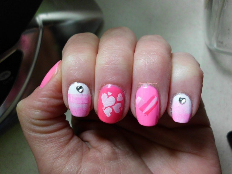 Pink Love  nail art by Angelique Adams