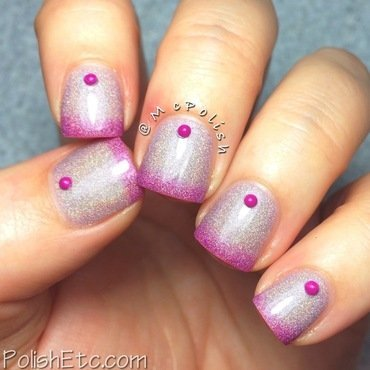 Holographic Thermal with studs nail art by Amy McG
