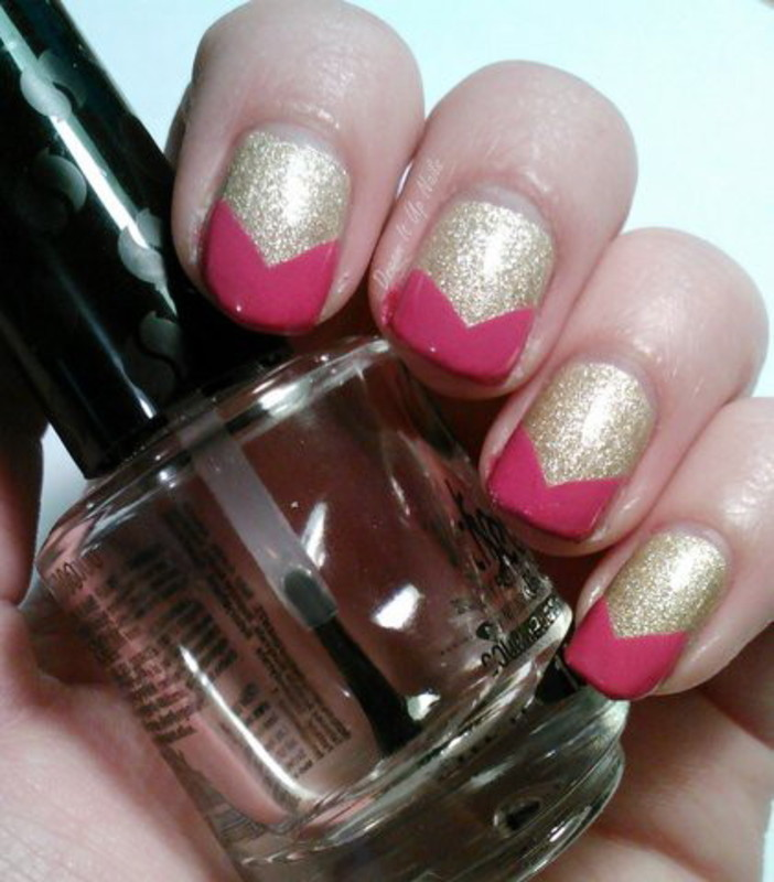 Pink/Gold Chevron Tips nail art by Dream It Up Nails