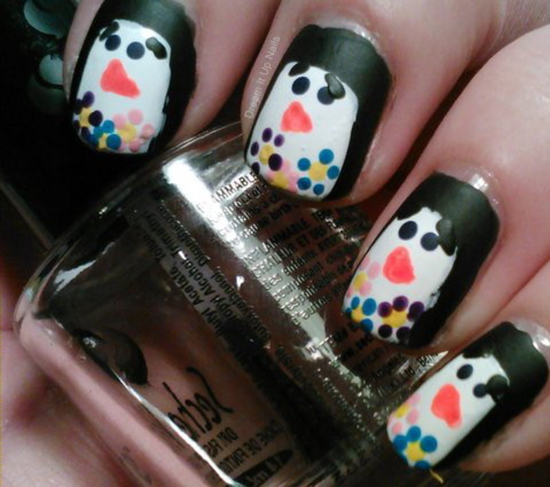 Flower Penguin Nails nail art by Dream It Up Nails