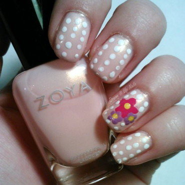 Polka Dots & Flowers nail art by Dream It Up Nails