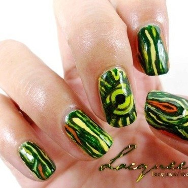 Red-Eared Slider Inspired Nails nail art by Lacqueerisa