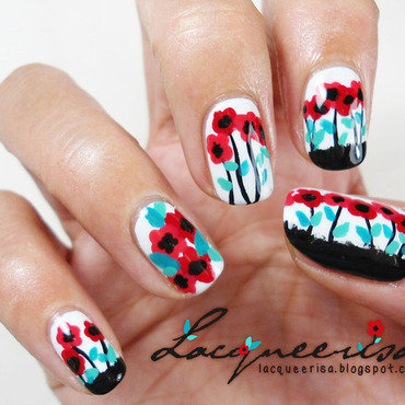 Little Poppies nail art by Lacqueerisa