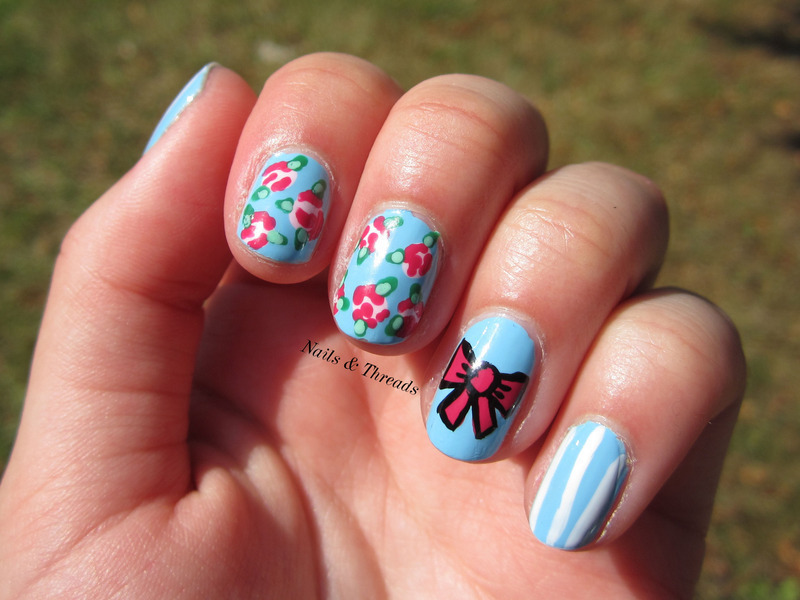Bows & Roses nail art by Nails & Threads