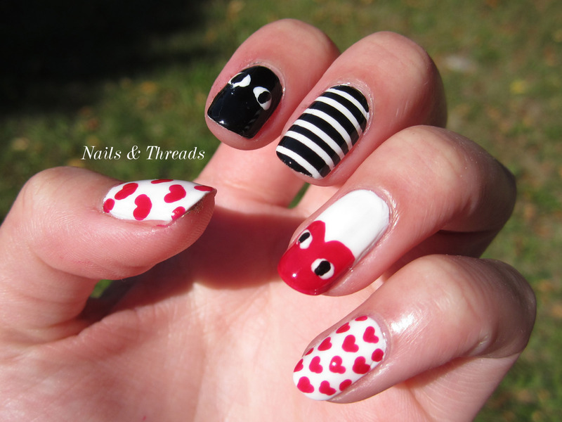 Comme des Garcons Inspired nail art by Nails & Threads