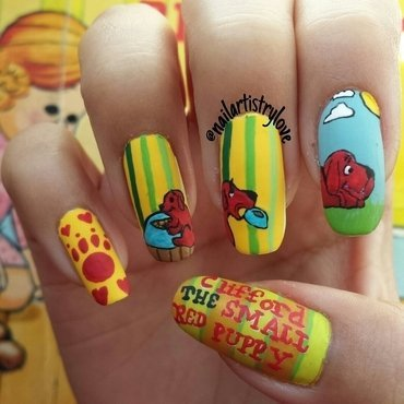 Clifford nail art by Julia