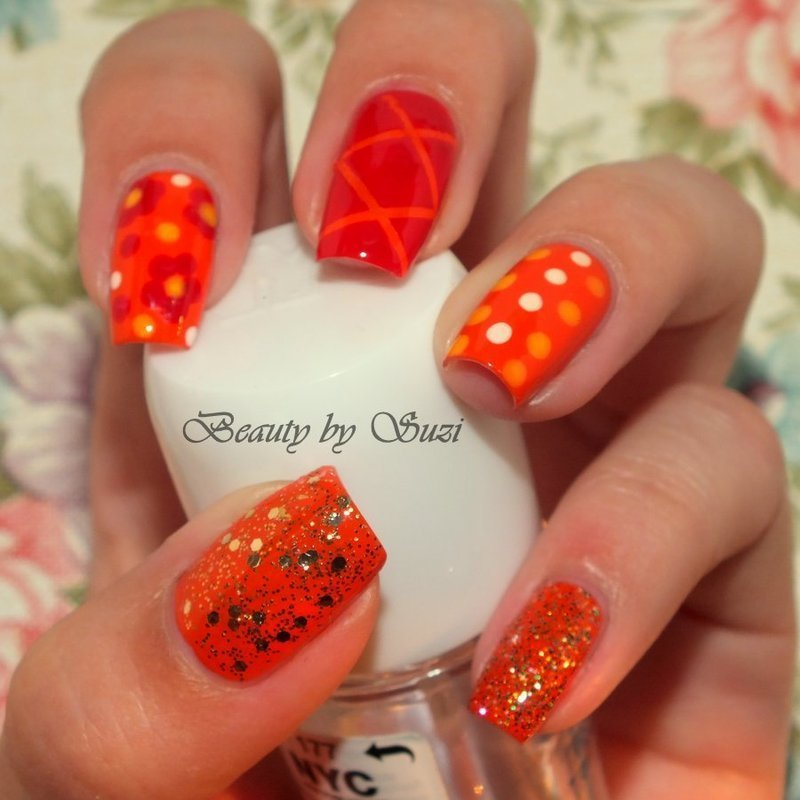 Orange Skittles nail art by Suzi - Beauty by Suzi