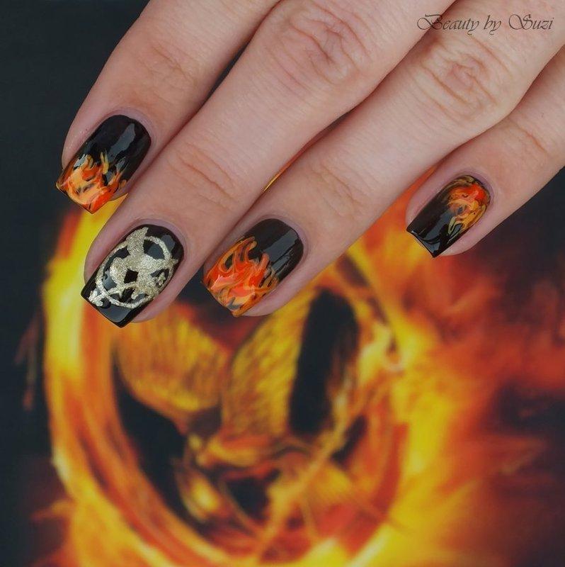 Catching Fire nail art by Suzi - Beauty by Suzi