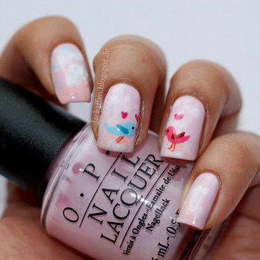 Lovebirds nail art by Tartelette