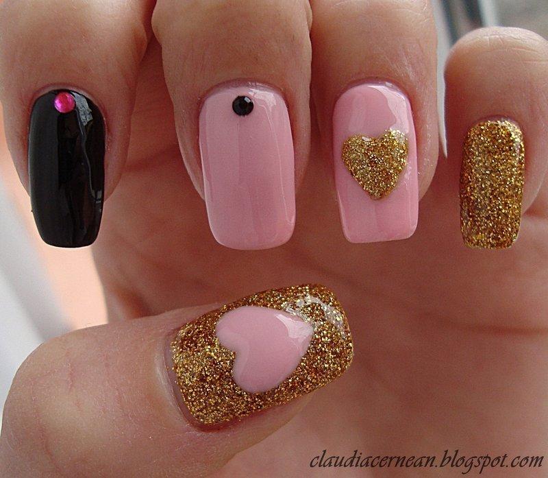 Pink And Gold Nails Nail Art By Claudia Nailpolis Museum Of Nail Art