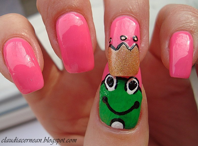 Frog Nails nail art by Claudia