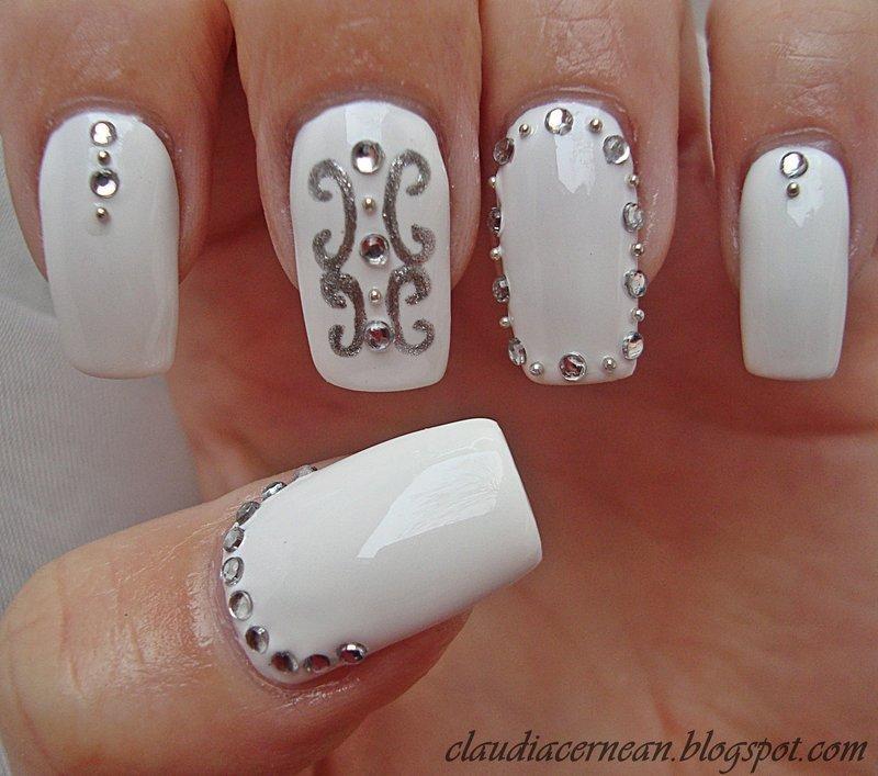 White Nails nail art by Claudia