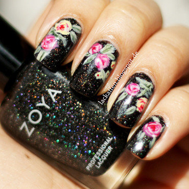 Roses in space! ;) nail art by Tartelette