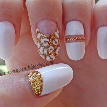 White and Gold Nails nail art by Claudia