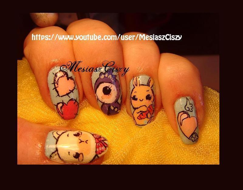 Kawaii love nail art by MesiaszCiszy