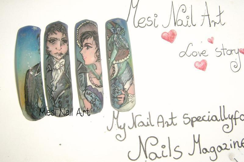 love story  nail art by MesiaszCiszy