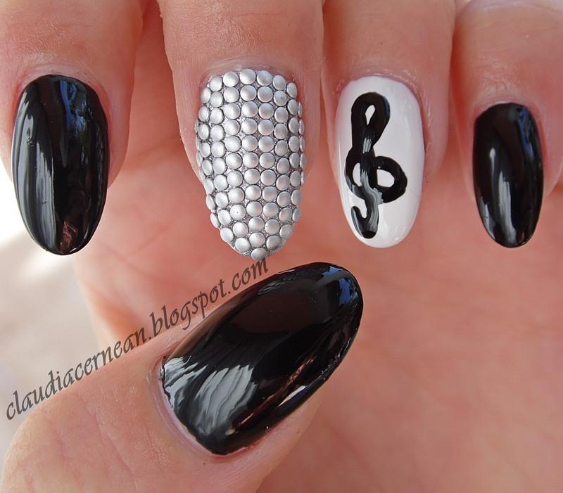 Silver Studs Nails nail art by Claudia