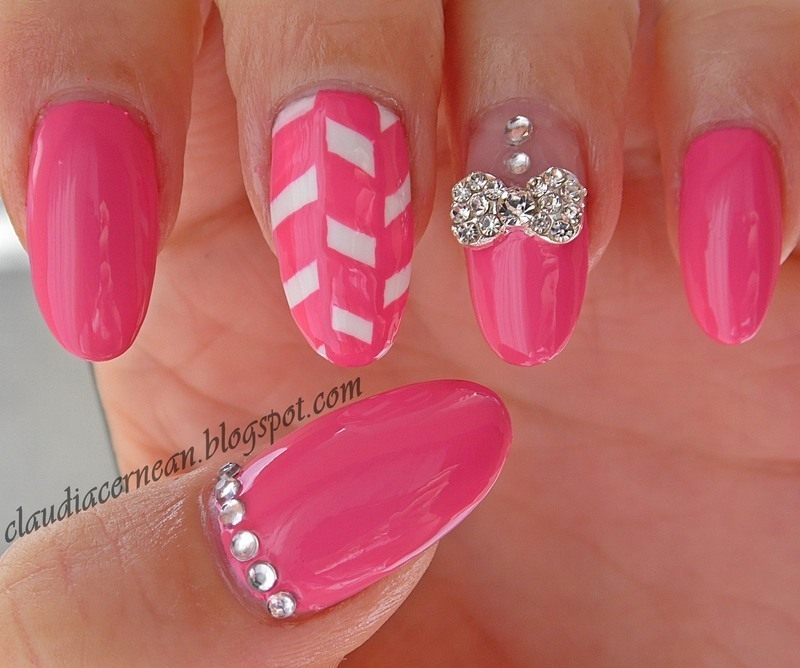 Mettalic Bow Nails nail art by Claudia