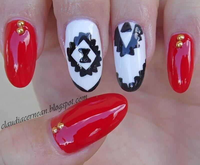 Gold Studs Nails nail art by Claudia