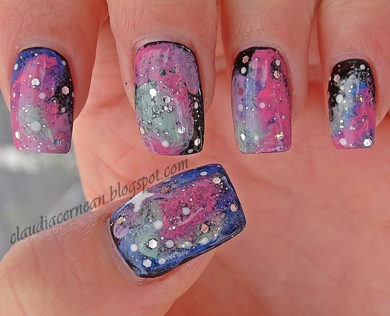 Galaxy Nails nail art by Claudia