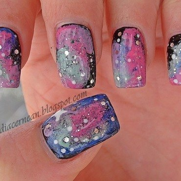 Galaxy Nails nail art by Claudia
