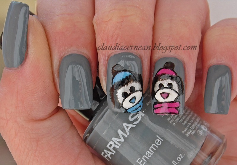 Bears Nails nail art by Claudia
