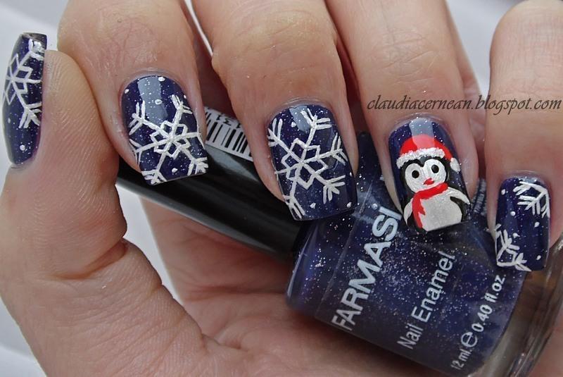 Penguin Nails nail art by Claudia
