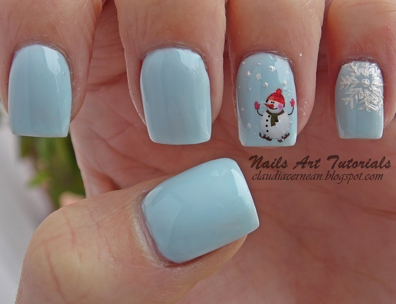 Snowman Nails nail art by Claudia