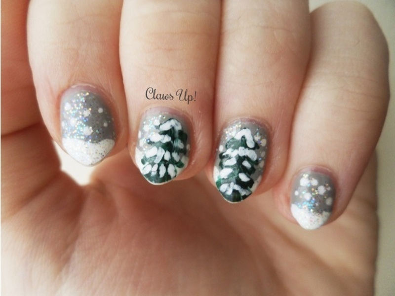 Winter Pine nail art by Jacquie