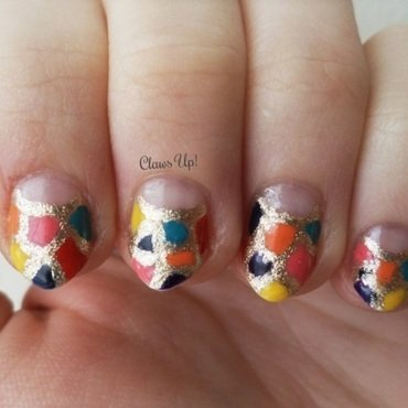 Mosaic Half Moons nail art by Jacquie