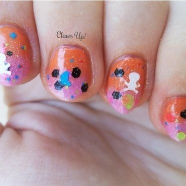 Colorful Gradient and Glitter nail art by Jacquie