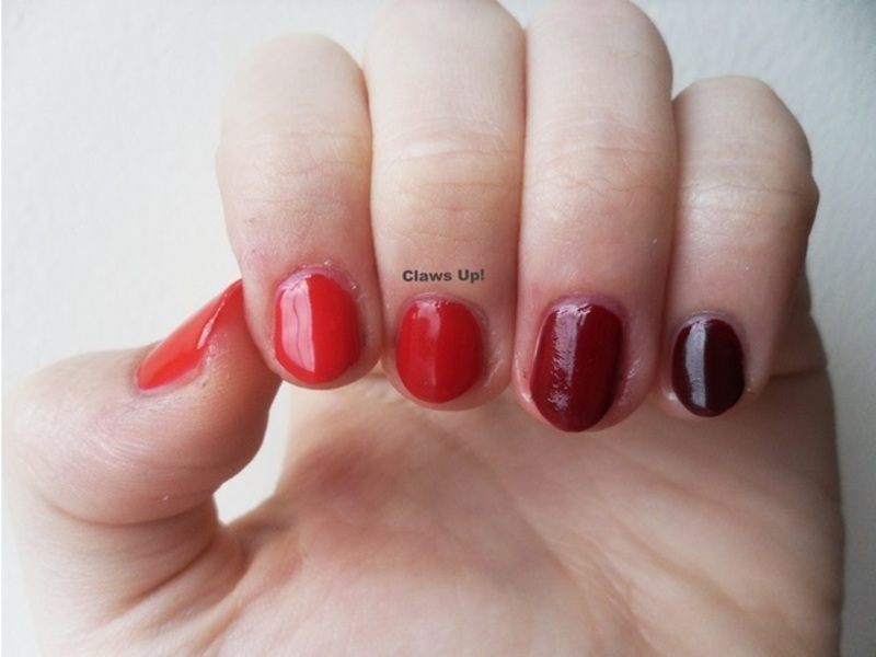 Red Ombre nail art by Jacquie