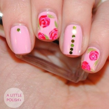 A Little Polish - Rose & Glequin Valentine's Mani nail art by Stephanie  O.
