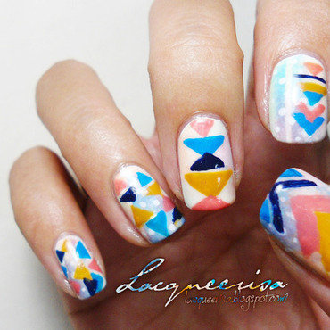 Spring Geometric Prints nail art by Lacqueerisa