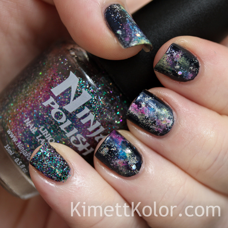 Holographic Stars in Colorful Nebula nail art by Kimett Kolor