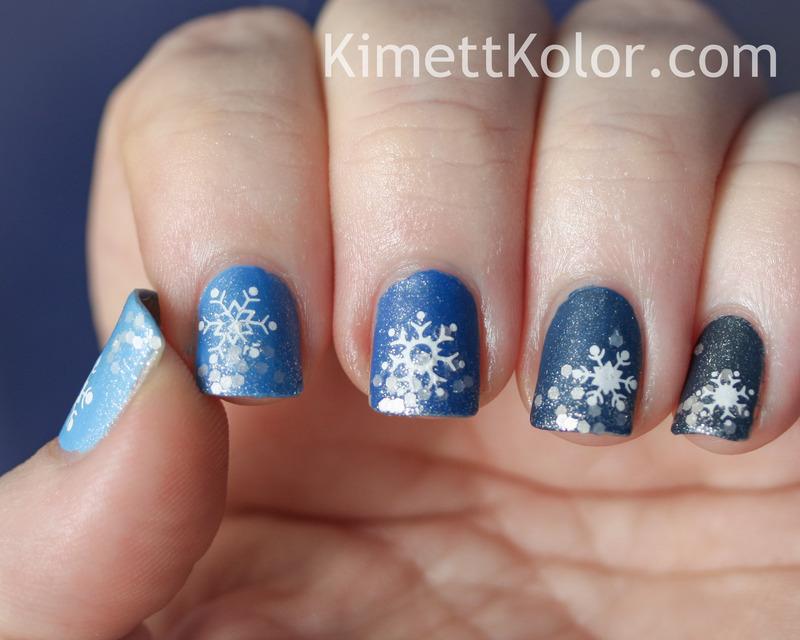 Blue Ombre Under Snowfall nail art by Kimett Kolor