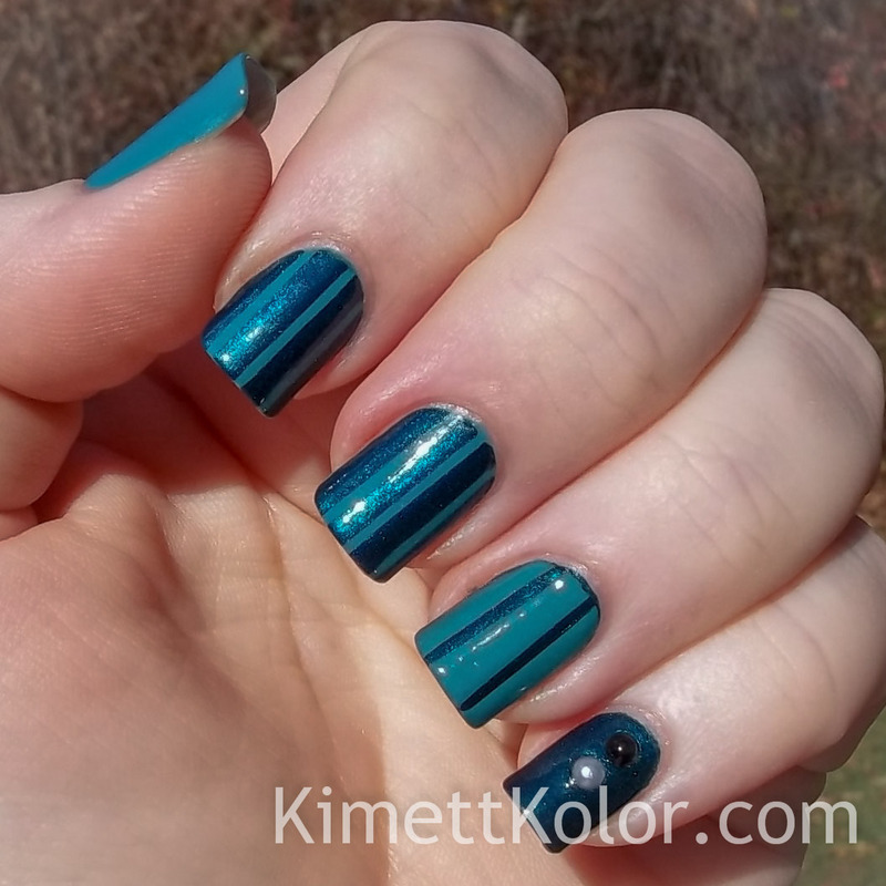Two-Toned Teal Stripes nail art by Kimett Kolor
