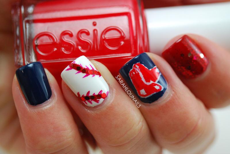 Red Sox Nails! nail art by Sarah S