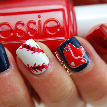 Red Sox Nails! nail art by Sarah S
