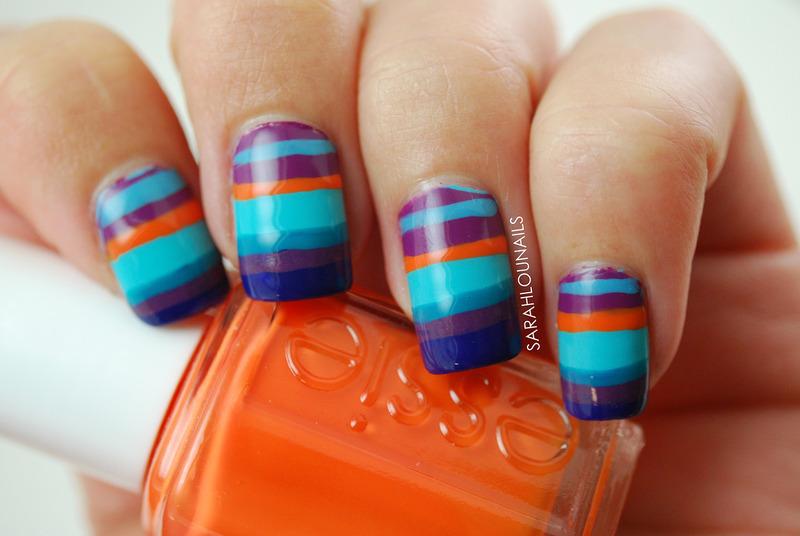 Sunset Stripe Nails nail art by Sarah S